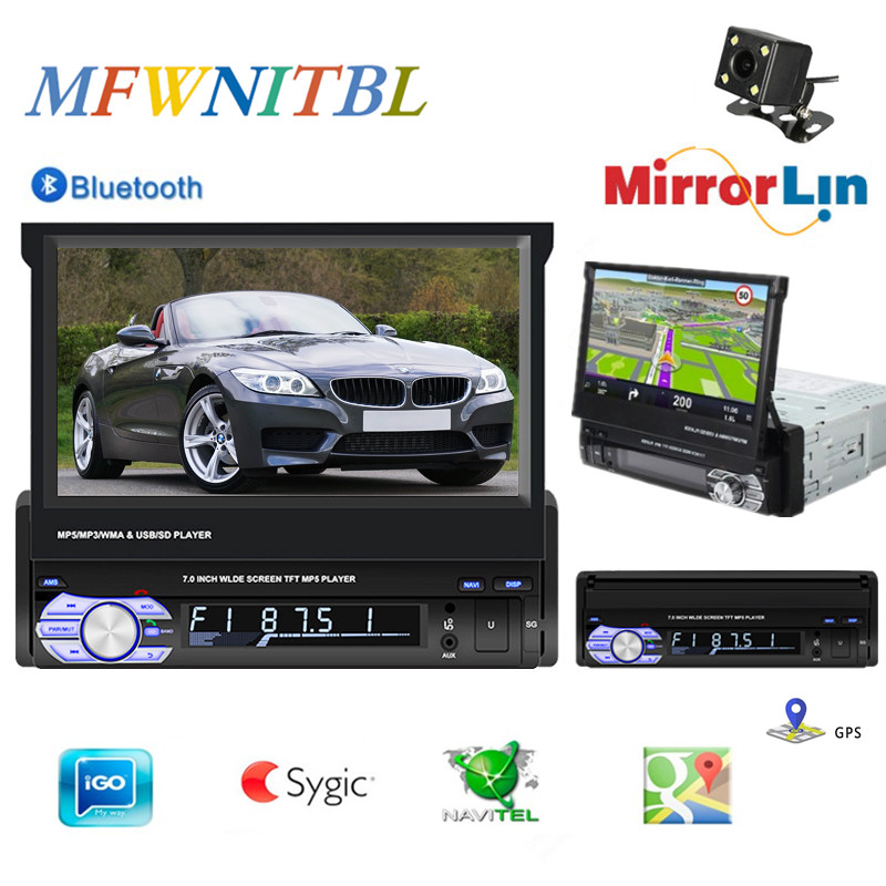 7 Universal 1din autoradio gps navigation bluetooth retractable 1 din car radio with gps and screen MP5 Stereo Audio image