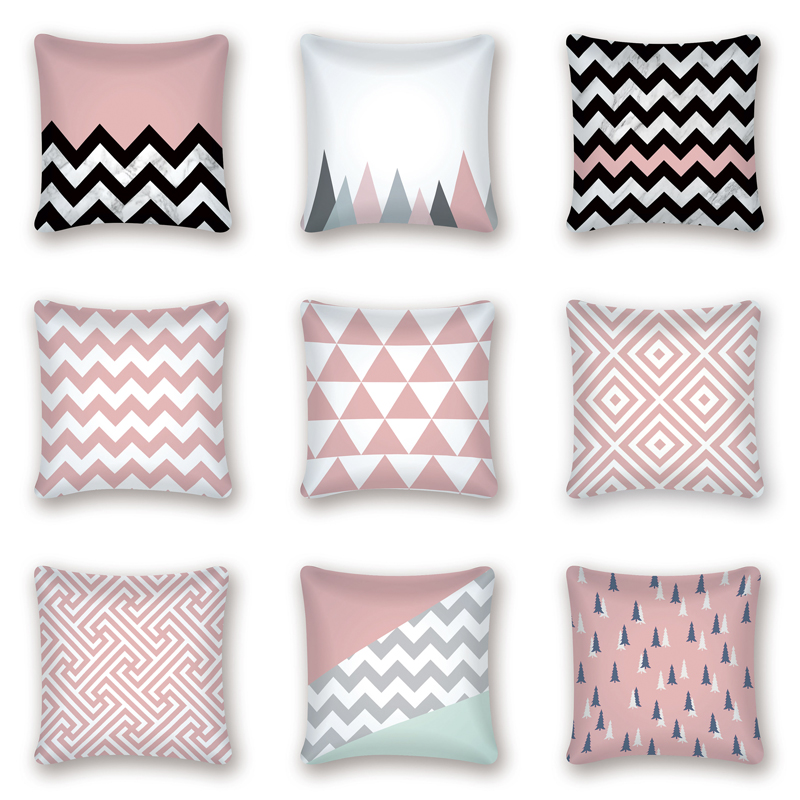 Pink Geometric Nordic Cushion Cover Striped Throw Pillow Cover Polyester Cushion Case Sofa Bed Decorative Pillow Case Cojines