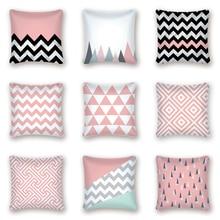 Funda de cojín nórdico geométrico rosa a rayas, funda de almohada de poliéster, funda de cojín para sofá, cama, funda de almohada decorativa, Cojines