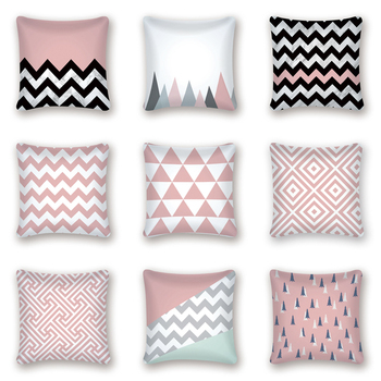 цена на Pink Geometric Nordic Cushion Cover Striped Throw Pillow Cover Polyester Cushion Case Sofa Bed Decorative Pillow Case Cojines