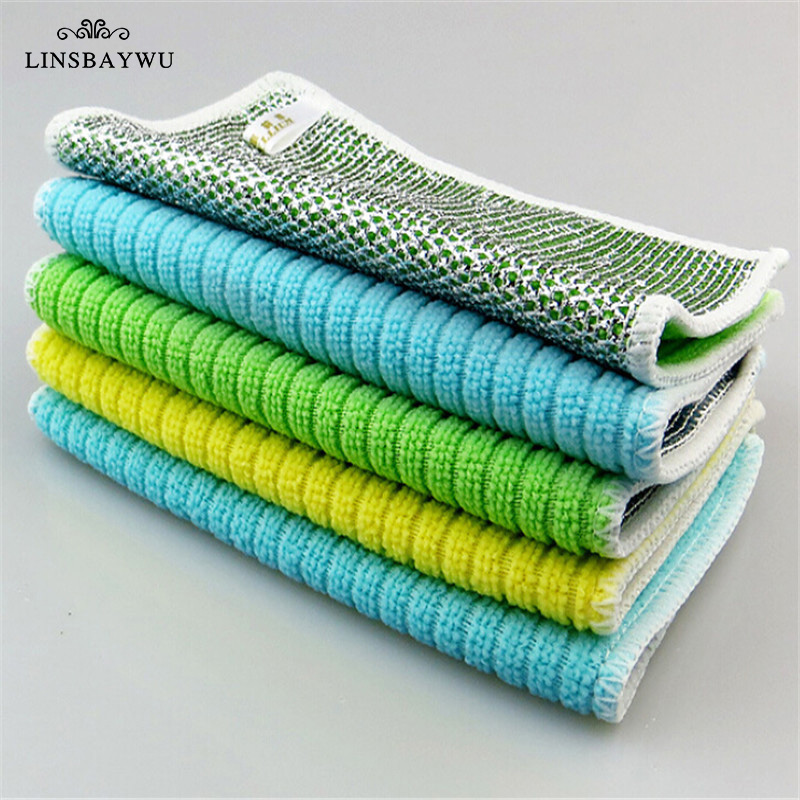 Super Absorbent Towels Anti-grease Bamboo Fiber Dish Cloth Household Glass Window Cleaning Cloth Kitchen Absorbent Dishcloth(China)