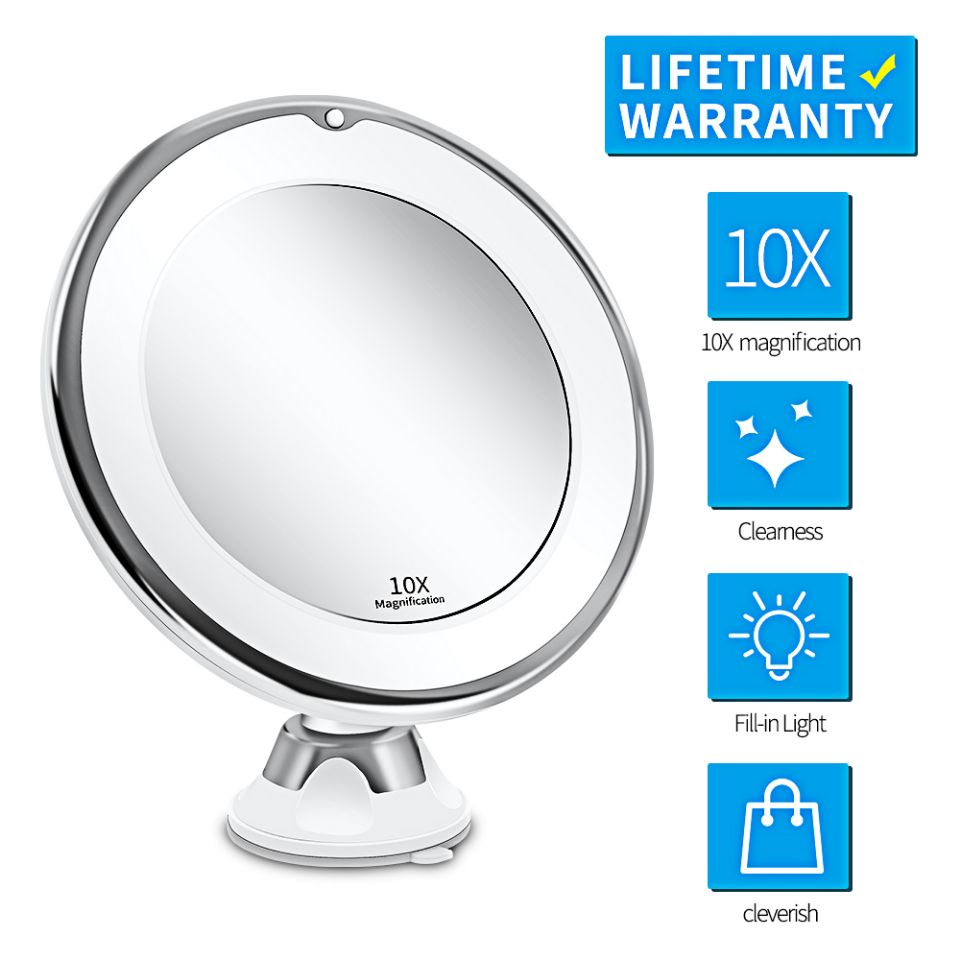 Makeup Vanity Mirror With 10X Lights LED Lighted Portable Hand Cosmetic Magnification Light up Mirrors VIP Dropshipping(China)