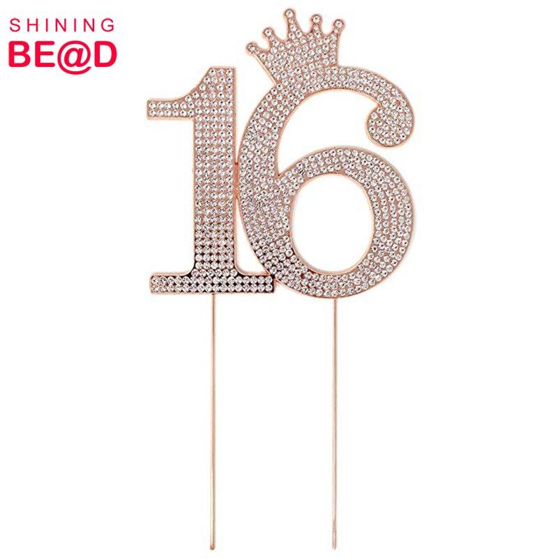 Лидер продаж розовое золото металл номер 16 корона принцессы из страз монограмма торт Топпер для Сладкий 16th день рождения
