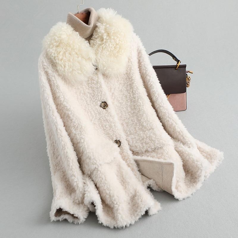 Real 2020 Sheep Shearling Fur Coat Female 100% Wool Coats Winter Jacket Women Korean Pink Jackets Chaqueta Mujer MY4104 S S