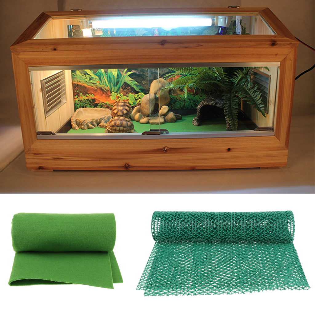 Reptiles Liner Snakes Lizards Terrarium Cage Carpet Fiber Pet Mat Isolation Cushion Green Breeding Box Bedding Mat 2-in-1