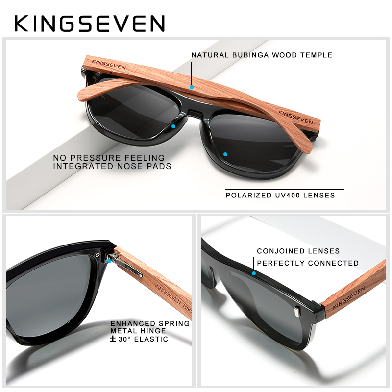 KINGSEVEN Women's Glasses Natural Bubinga Wooden Sunglasses Men Polarized Fashion Sun Glasses Original Wood Oculos de sol 2