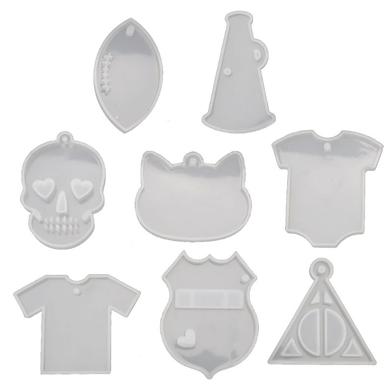 8Pcs Keychain Pendant Resin Molds Skull T-shirt Silicone Molds Jewelry Making DIY Craft Epoxy Resin Molds Silicone Mould