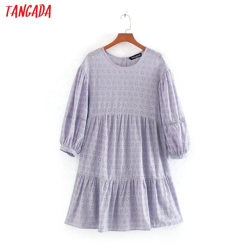 Tangada Women Elegant Purple Embroidery Dress Short Sleeve Females Summer Cotton Dresses Vestidos CE263