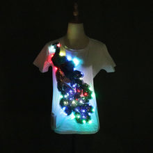 Hot Sale LED T-shirt Rock Party Disco DJ Sound Activated LED T Shirt Lampu Atas dan Ke Bawah Berkedip Equalizer Tshirt(China)