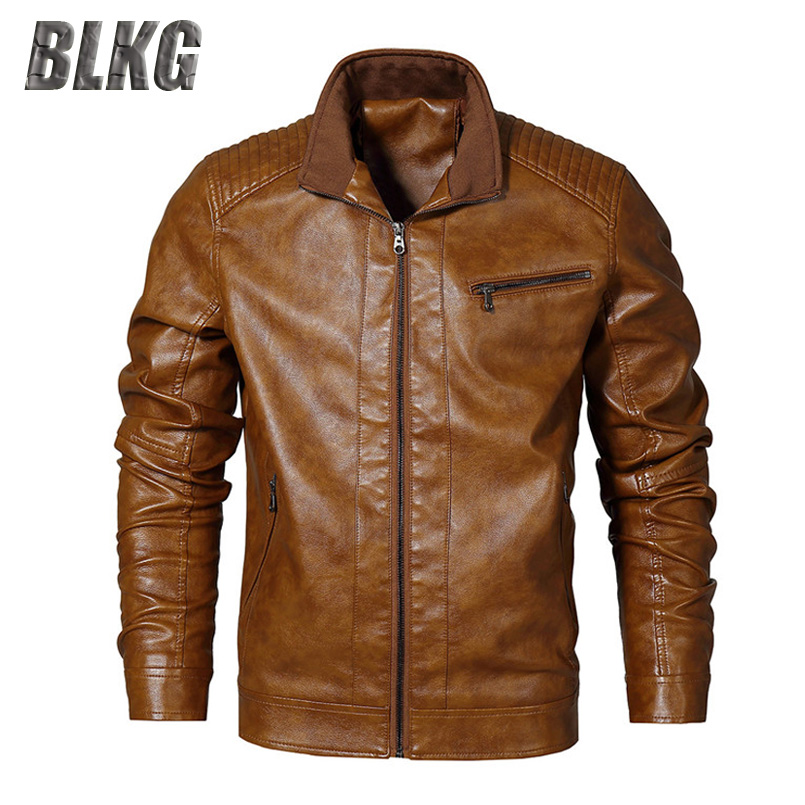 BLKG EU Size S-XXL PU Leather Jacket Men Spring Autumn Leather Coat SOLID Stand Collar Motorcycle Jacket Chaqueta Cuero Hombre