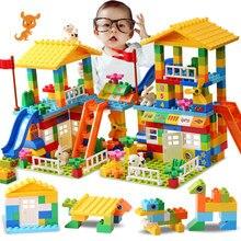 Big Particle Roof Blocks Compatible Duploed City House Big Size Slide Building Blocks Castle Brick Toys For Childre недорого