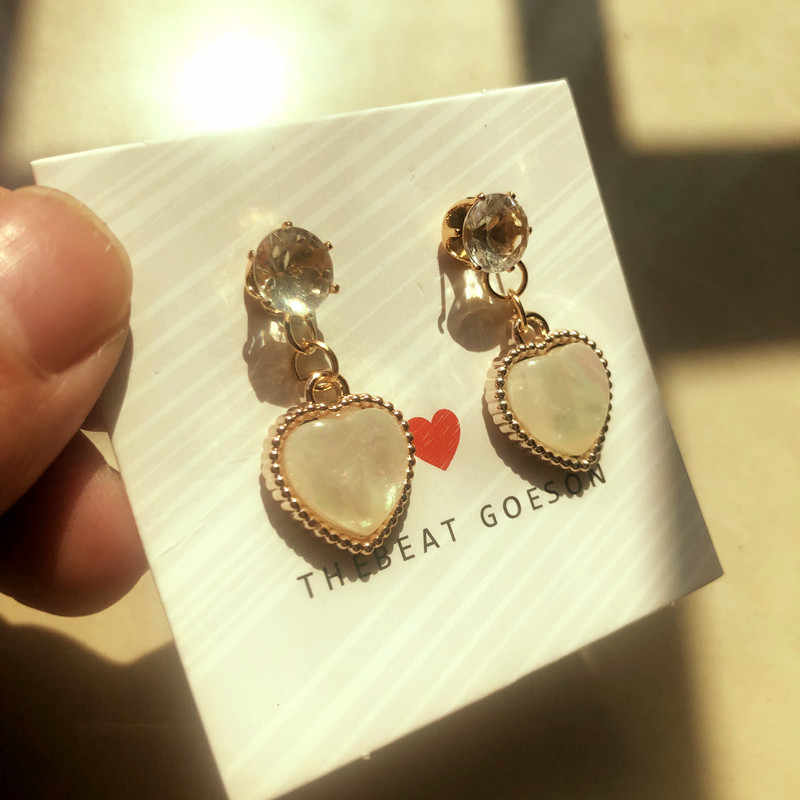 XINSHIQIN 3 pcs חמוד לב בצורת שרשרת עגילי סטי תכשיטי קריסטל נקבה יפה זהב צבע תכשיטי סטים לילדה