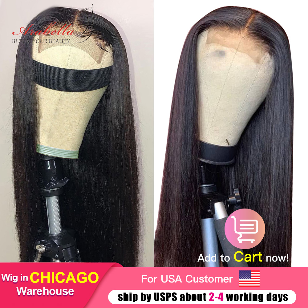 Hair Straight Lace Closure Wig With Baby Hair 100%  Wigs Pre Plcuked Bleached Knots Arabella  Lace Wigs 1