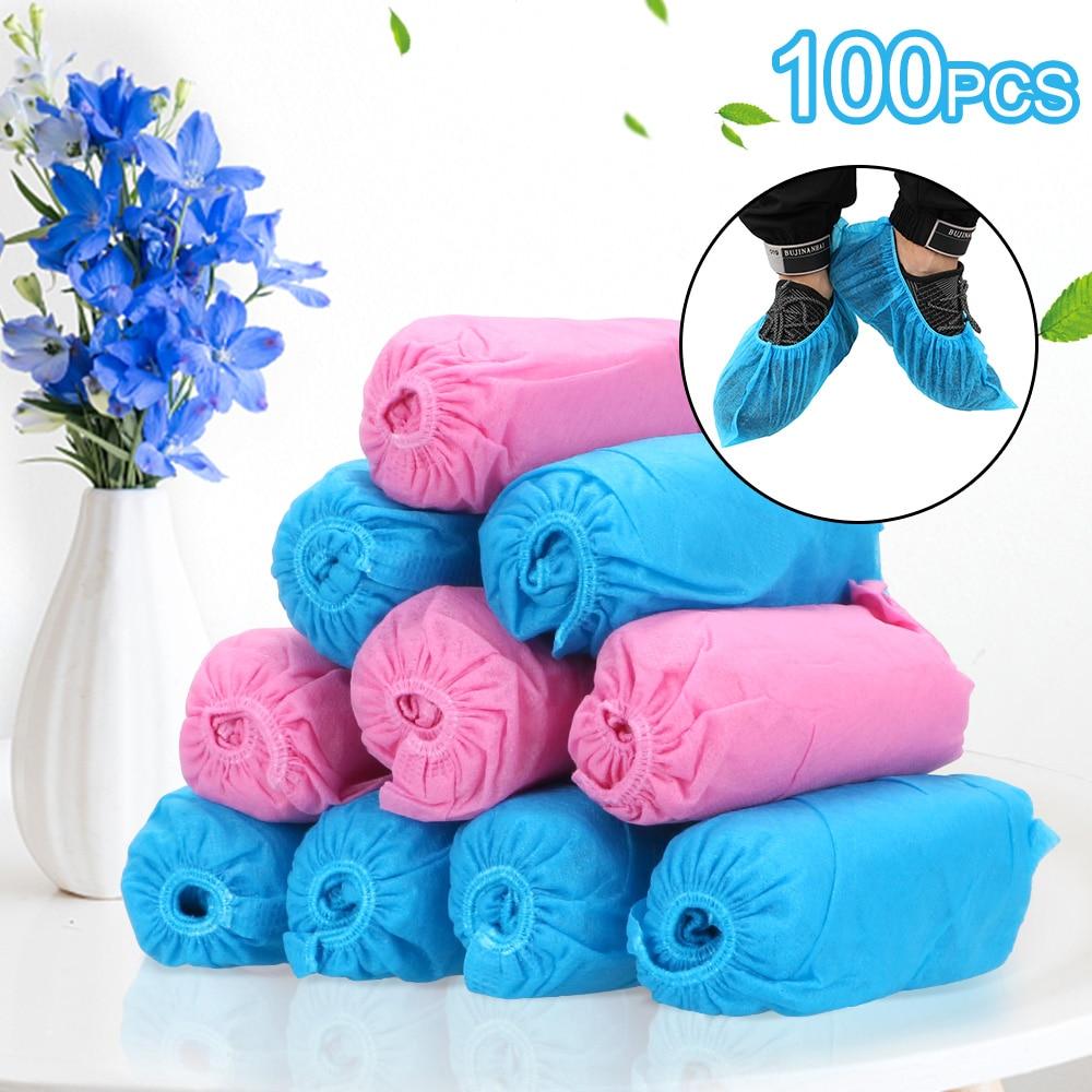 100PCS Elastic Band  Disposable Shoe Covers  Breathable Dustproof   Anti-Slip Shoe Covers  Non-Woven Fabric Overshoes