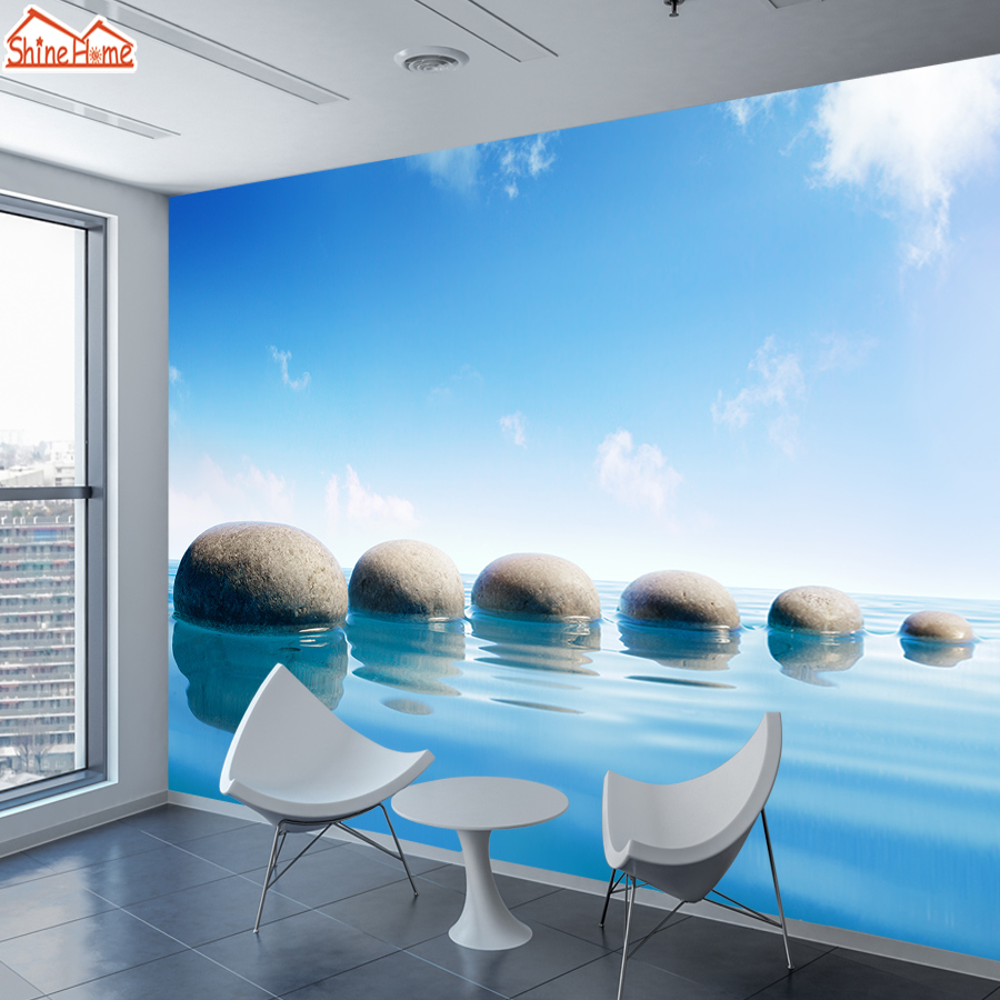 3d Photo Wallpapers For Living Room Wallpaper Wall Papers Home Decor Vinyl Mural Rolls Walls Lake Stones Landscape TV Background