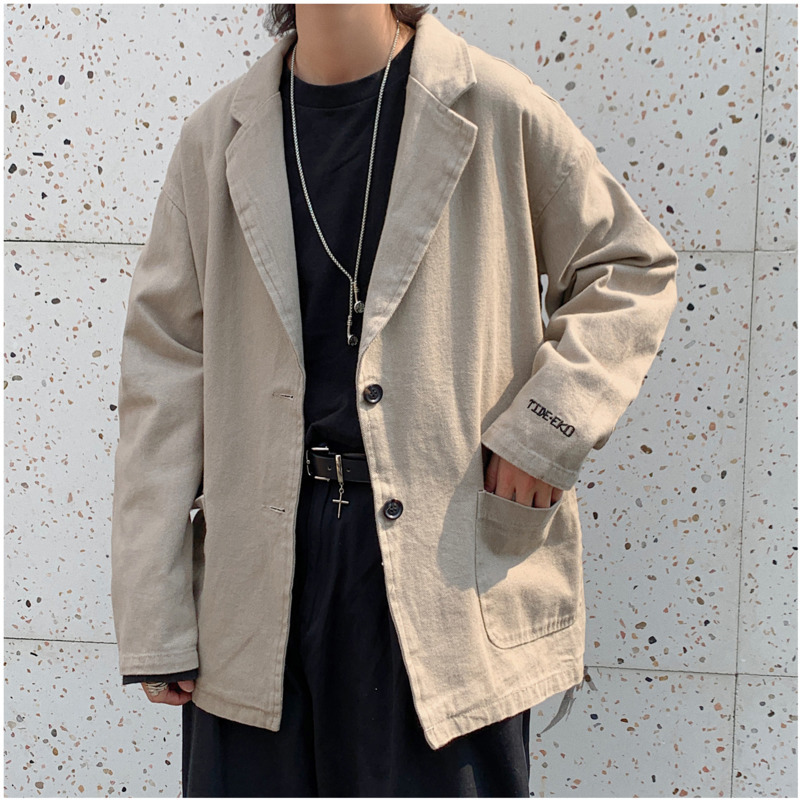 2019 Spring And Autumn New Japanese Literary Port Wind Fashion Casual Ins Old Suit Jacket Simple Solid Color Men's Shirt M-2XL