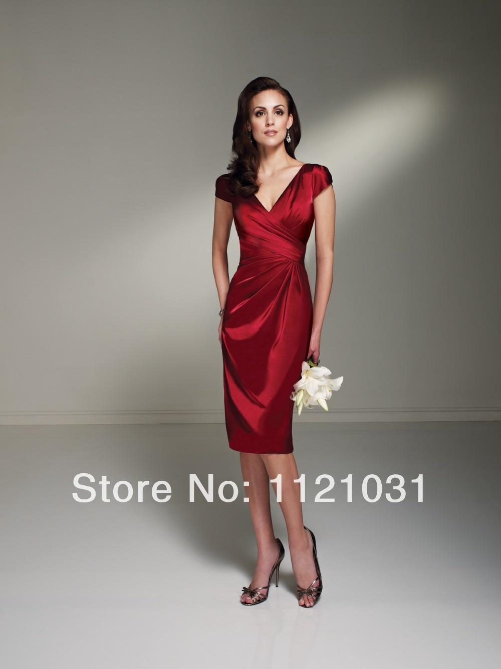 2019 New Red Elegant Sheath V Neck Cap Sleeve Taffeta vestido de noiva cheap short Mother of the Bride Dresses Custom-made