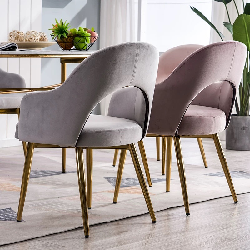 Dining Chair Modern Minimalist Macaron Color Lounge Makeup Chair Coffee Chair Light Luxury Wrought Iron Home Backrest