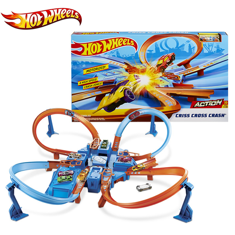 Car-Track-Playset Game Hotwheels Diecast Mini DTN42 4-Corner Racing-Car Cross-Crash More-Intense