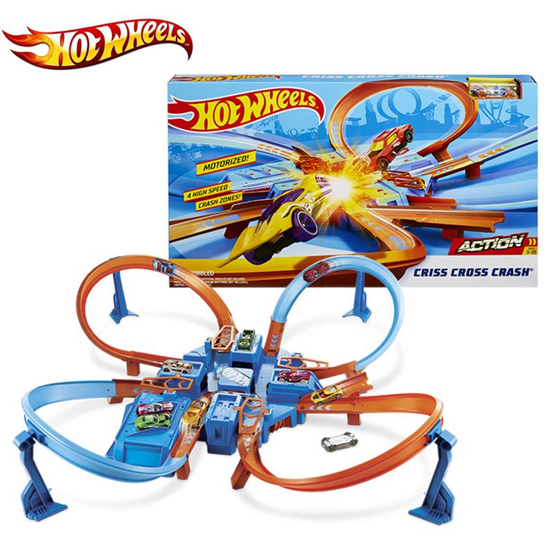 Original Hot Wheels Criss  Cross Crash Track Playset Mini Diecast Racing Car 4 Corner More Intense Game Play DTN42 Hotwheels