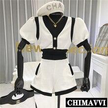 2020 Summer New V-neck Short Sleeve Mixed Color Shirt Top + High Waist Wide Leg