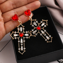 AENSOA Vintage Crystal Cross Drop Earrings for Women Baroque Bohemian Large Long Gold Color Cross Earrings Jewelry Brincos 2020