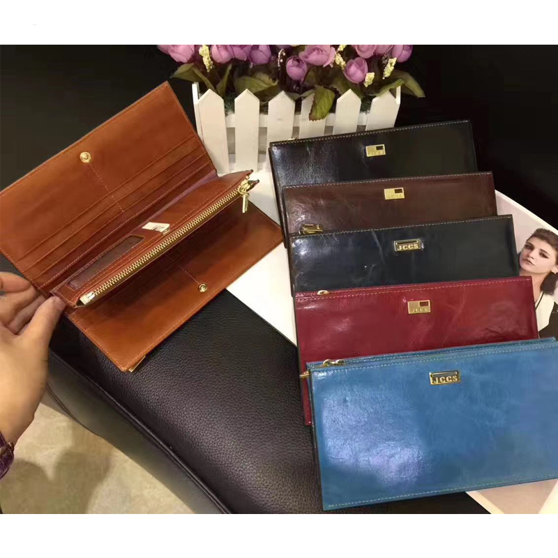 Clearance !JCCS Brand Designer Genuine Leather Folding Wallet Women's Men's Long Wallet Retro Oil Wax Skin Purse Clutch Wallets