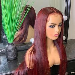 Бордовые парики из человеческих волос, предварительно выщипанные T-образные парики с фронтальной сеткой, Детские волосы, фронтальный парик ...