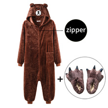 Bear Onesie Women Men Kigurumis Animal Pajama Cartoon Slippers Festival Homewear Winter Warm Suit Zipper Button Overalls