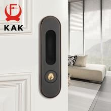 KAK Sliding Door Lock with Keys Hidden Door Handle Interior Door Pulls Lock Anti-theft Room Wood Door Lock Furniture Hardware