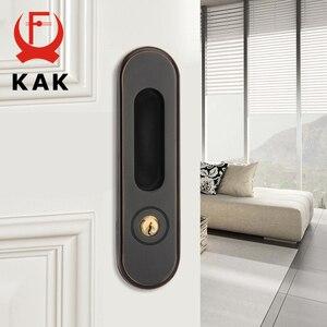 Image 1 - KAK Sliding Door Lock with Keys Hidden Door Handle Interior Door Pulls Lock Anti theft Room Wood Door Lock Furniture Hardware