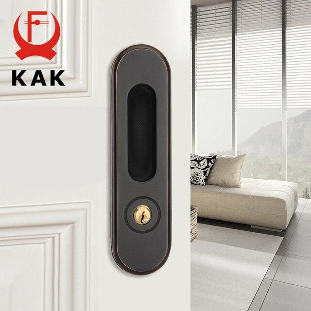 KAK Sliding Door Lock with Keys Hidden Door Handle Interior Door Pulls Lock Anti theft Room Wood Door Lock Furniture Hardware