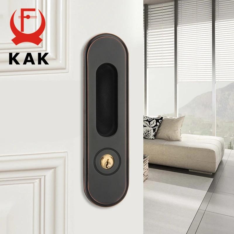 Kak Sliding Door Lock With Keys Hidden Door Handle Interior Door Pulls Lock Anti Theft Room Wood Door Lock Furniture Hardware Door Locks Aliexpress