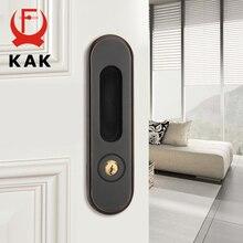 KAK cerradura de puerta corredera con llaves, manija de puerta oculta, tiradores de puerta Interior, cerradura antirrobo para habitación, cerradura de puerta de madera, herrajes para muebles