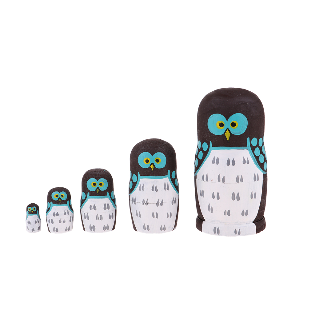 Hand Painted Eule Muster Russian Nesting Puppen Holz Matryoshka Babuschka Puppe 5 Stück Kits Kinder Geburtstag Weihnachten Geschenk