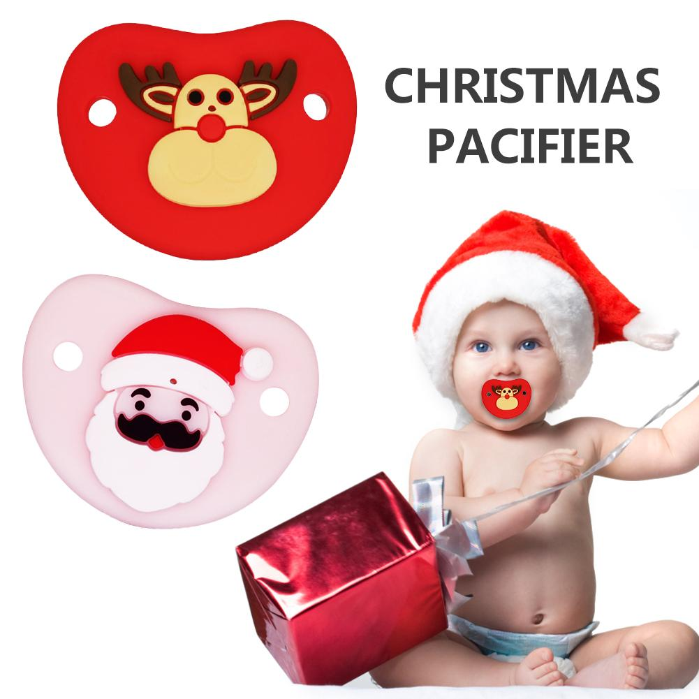 Unique Cute Christmas Pacifier Santa Soft Skin-friendly Silicone Pacifier For Baby Food Grade Silicone Baby Supplies In Stock
