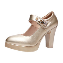 Block Heels Gold Silver Wedding Shoes Women Pumps 2021 Rhinestone 10cm High Heel Shoes Ladies Party Dress Shoe 33 41 42 43 44