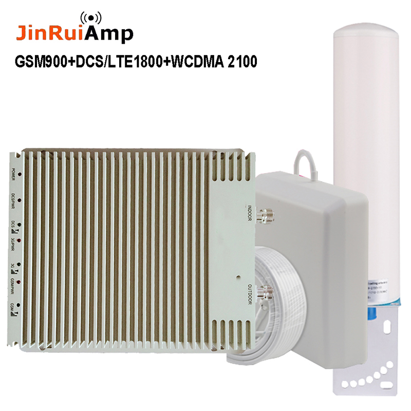 Intelligent Cellular Amplifier Tri-band 900 1800 2100 GSM Repeater DCS WCDMA 2G 3G 4G Signal Booster LTE Amplifier Full Set