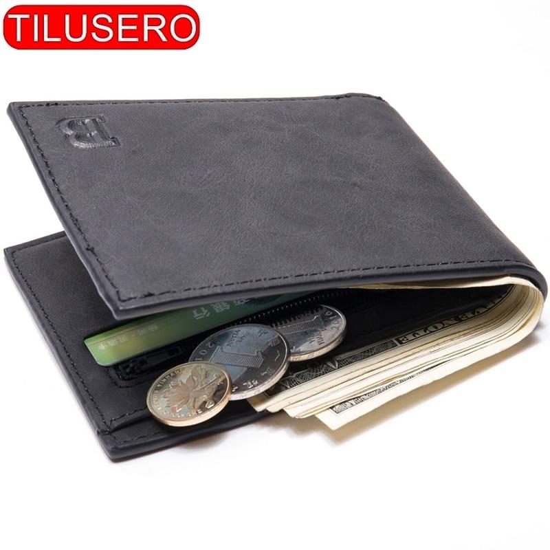 Fashion Mini Slim Wallet Mens Money Purse Coin Bag Zipper Short Men Wallet Card Holder Compact Money Purses