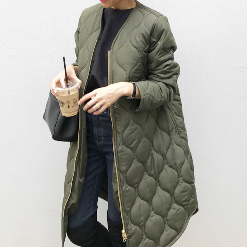 Autumn Cotton Padded Jacket Office Ladies Korean Warm Solid Green Zipper Retro Causal Long Parkas Winter Coat Outwear Overcoat