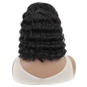 Image 4 - Perruque Bob Bang pour femmes brésilienne avec frange, perruque cheveux naturels Remy, coupe courte et Pixie, Deep Wave, fait à la Machine