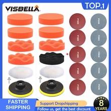 VISBELLA طقم إسفنجة تلميع للسيارة ، وسادة إسفنجية ذاتية اللصق لإصلاح المصابيح الأمامية للجسم ، 3 بوصات