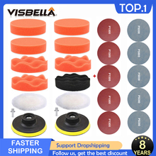 Visbella車研磨スポンジパッドセット自己粘着バッファワックスがけスポンジアダプタドリルキット車体用ヘッドライト修理3インチ