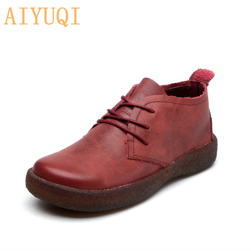 AIYUQI Women Shoes Natural-Cowhide Flat Autumn New Retro Lace-Up Casual Lady