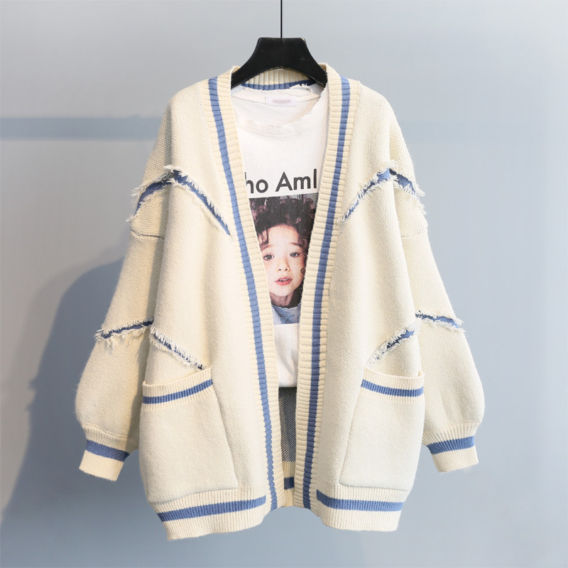Autumn Korean Women Cardigan Sweater Casual Solid Pockets Loose Cardigan Outwear Female Plus Size Open Stitch Long Cardigan Coat