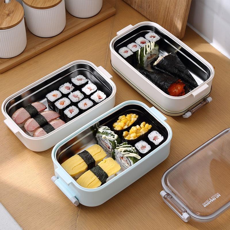 304 Нержавеющаясталь здоровый Материал Коробки для обедов столовая посуда Еда контейнер для хранения коробка для завтрака Пикник Кемпинг ч...