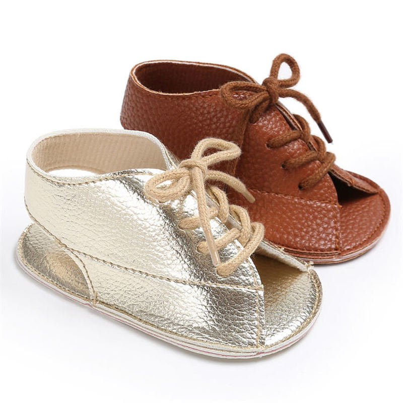 Unisex lace up sandals for small girls newborn baby infant boy girl first walker pu leather sofe rubber sole anti-slip toddler casual shoes