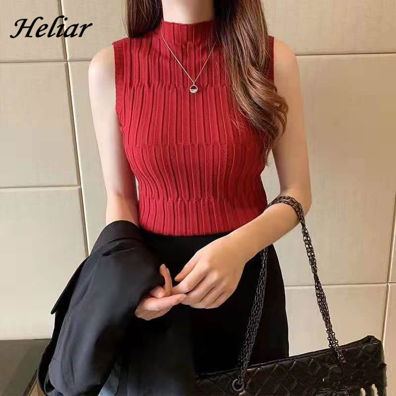 HELIAR Women Black Knitted Tank Tops Female Solid Sleeveless Tees O-Neck Slim Crop Top Female Casual Tank Tops For Women Summer 4