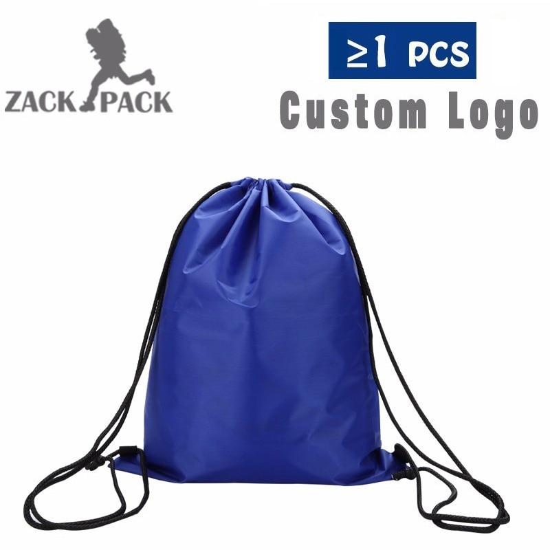 40pcs Custom Logo Drawstring Backpack Sports Waterproof Drawstring Bag Cotton Printing Logo Sack Female Students Polyester Bag