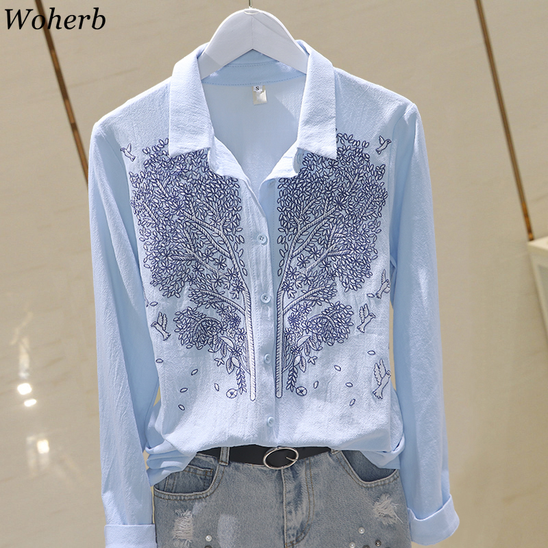 Woherb Cotton Linen Turn Down Collar Long Sleeve Blouse Embroidery Casual Shirts Fashion New Korean Style Plus Size 3XL 91592